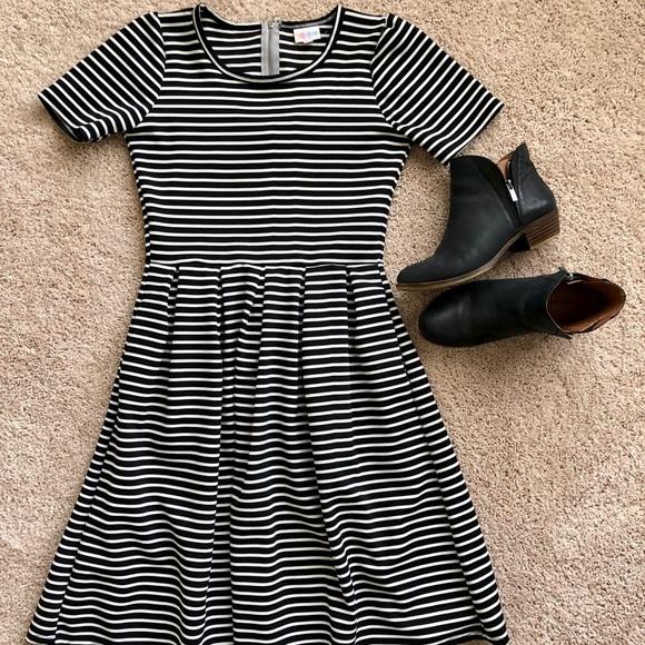 LuLaRoe Dresses & Skirts - LuLaRoe Black and White Striped Amelia Dress